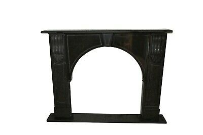 Small Arched Opening Black Granite Fireplace Mantel #1438
