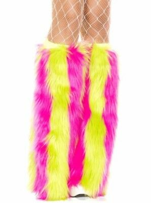 Pink and Yellow Striped Fluffies Legwarmers