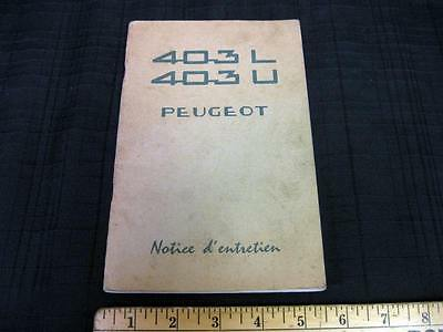 1962 Peugeot 403 L 403 U Owners Manual French Francais