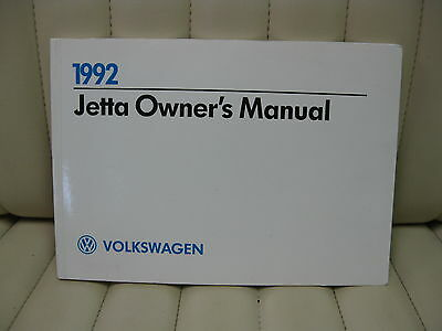 1992 Volkswagen VW Jetta  Car Owners Instruction Book Glove Box Manual