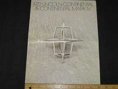 1972 Lincoln Continental & Mark IV Sales Brochure CDN