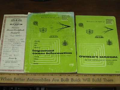 1956 Plymouth Owner's Manual 3pcs