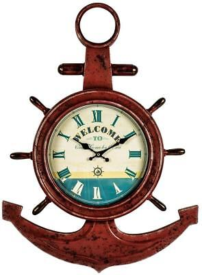 Vintage Metal Wall Clock Unusual Nautical/ Anchor/ Boat Style Ideal Mens Gift