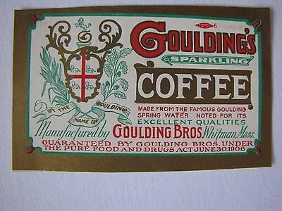 Vintage Label Goulding's Sparkling Coffee Made From Spring Water Whitman, Mass.