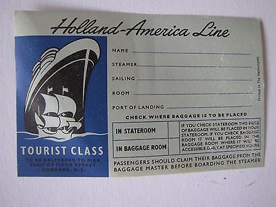 4-1950's Original Cruise Ship Luggage Labels-Holland America Line New Old Stock