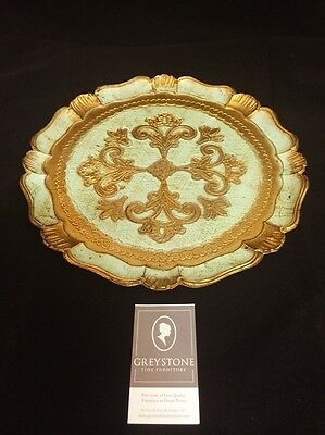 Gold Florentine Plate with Light Green Accent $25