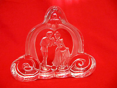 DISNEY CINDERELLA & PRINCE CHARMING Arribas Bros Crystal Paperweight