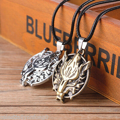 2pcs lot Anime Final Fantasy Cloud Wolf Head Cosplay Alloy Pendant Necklace Gift