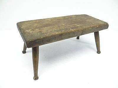 Antique Old Primitive Wood Wooden Pegged Leg Milking Stool Rectangular Footstool