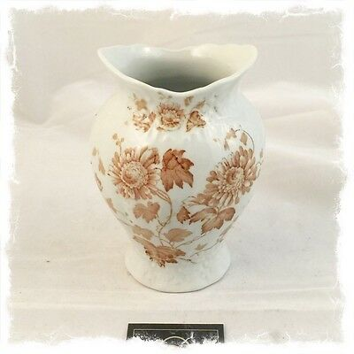 Antique Cream and Caramel Floral Vase $20