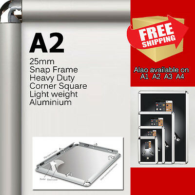 2x A2 PREMIUM Snap in poster frame poster Sign holder wall mount 25MM aluminum