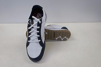 New Womens Ashworth Cardiff Adc Golf Shoes In White/navy/blue In Size Us 10