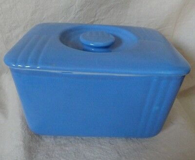 Vintage Blue Hall's China Rectangle Storage container & Lid for Westinghouse