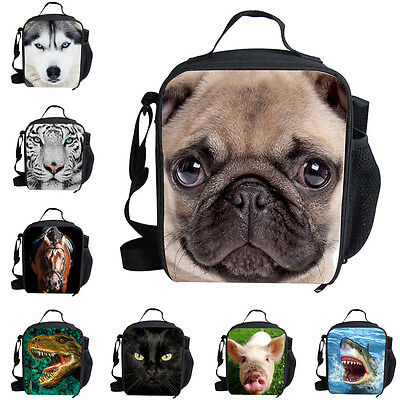 Fashion Animal Pug,Husky Lunch Bag Kids' Insulated School Lunch Box Container