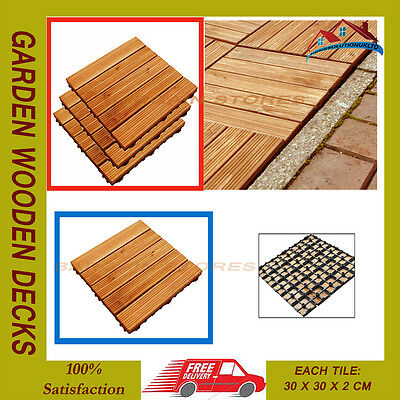 18Pc 30Cm Sq Garden Wooden Decks Slabs Decking Floor Interlocking Tiles