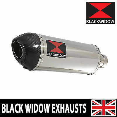 BLACK WIDOW STAINLESS + CARBON SILENCER END CAN 300mm OVAL SLIP ON 300ST