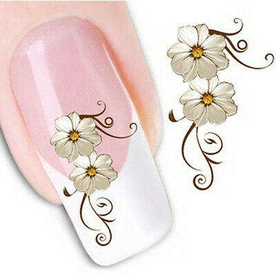 Nail Art Sticker Water Decals Transfer Stickers Cream Flowers Floral (XF1013)