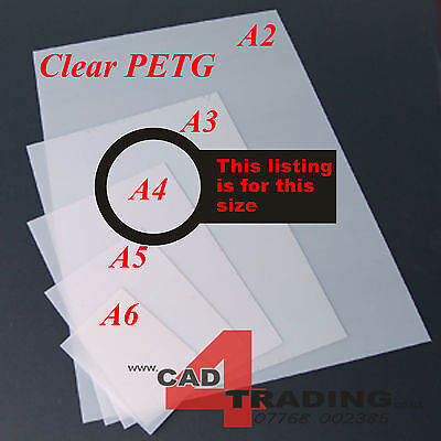 1.5mm Clear Thin PETG Dolls House Glazing Plastic Art Craft Hobby A4 Sheet Size