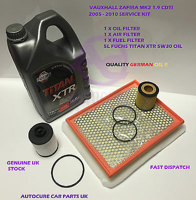 Vauxhall Zafira Mk2 1.9 Cdti 05-10 Service Kit Oil Air Fuel + 5L Engine Oil