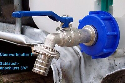 """IBC adapter with ¾"""" cap lever tap valve for rain water tank TOPSELLER #8 BB"""