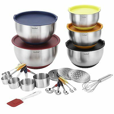 VonShef 17 Pieces Set Stainless Steel Measuring Mixing Bowls Utensils Package