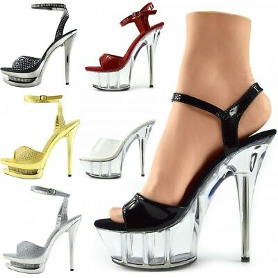 Women's Charmaine Clear Perspex High Heels Fashion Platform Pole Dancing Shoes