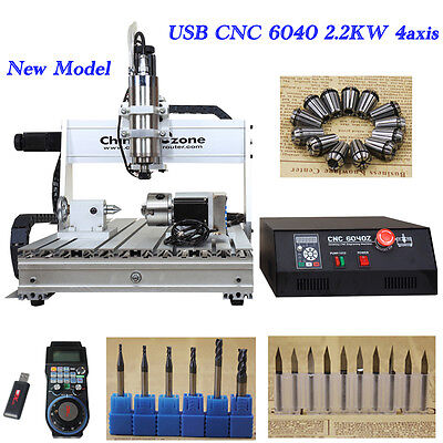 2.2KW Spindle CNC 6040Z-S80 4-axis wood PCB engraving drilling milling machine