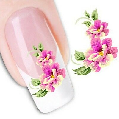 Nail Art Sticker Water Decals Transfer Stickers Flowers Floral (XF1023)