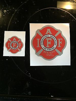 """1-RED/SILVER IAFF Career Firefighter Union Reflective 3M Helmet Sticker Decal 2"""""""