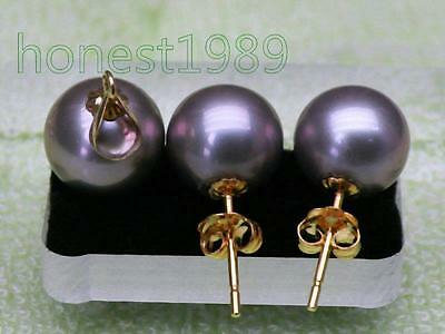 14K Solid Yellow Gold 9mm Round Violet Gray South Sea Pearls Pendan Earring Set