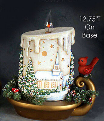 Ceramic Bisque Ready to Paint Medium Christmas Candle with scene