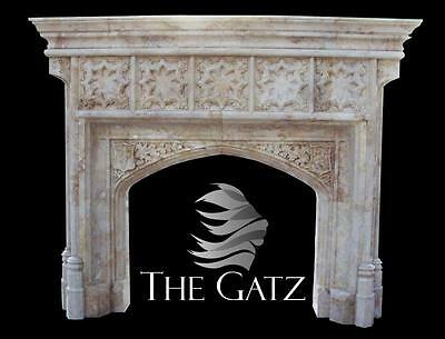 Hand Carved Marble Fireplace Mantel Custom Designed European Gothic Style, Large