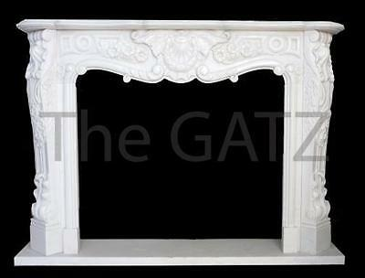 Solid Marble Fireplace Mantel, French Design, White Marble