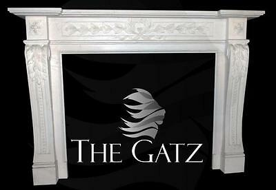 Lovely Hand Carved White Marble Fireplace Mantel, Floral & Acanthus Carvings