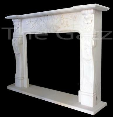 Solid Marble Fireplace Mantel featuring Elegant Foliage Carvings, French Design
