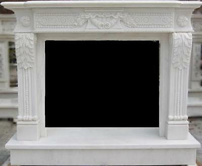 Traditional Marble Fireplace Mantel, Carvings with Swags and Rosettes, White