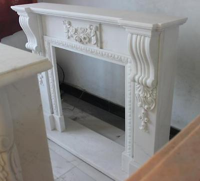 Elegant Hand Carved Solid Marble Fireplace Mantel,