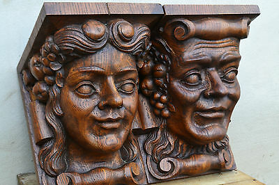 Italian Antique Wall Consoles Carved Heads Very Large Solid Hand Carved Oak