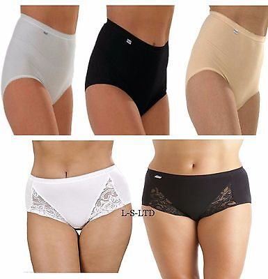 3 6 Pack Ladies Cotton Plain&Lace Design Maxi Full Briefs Womens Knicker Pants