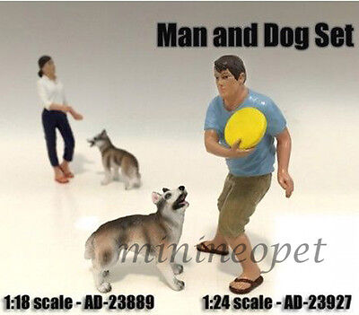 American Diorama 2 Piece Figure Set For 1/18 Model Ad-23889 Man And Dog