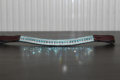 Equipride Diamante Bling Sparkly Browband 5 Row Dressage Turquoise Brown