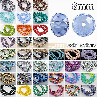 30pcs Rondelle Faceted 8mm Crystal Glass Loose Spacer Beads Lot 226Colors