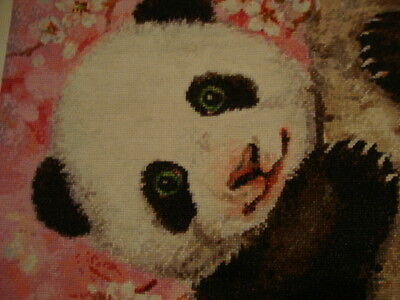 Crafts, Cherry Blossom Panda, Counted Cross Stitch, Finished, Unframed.
