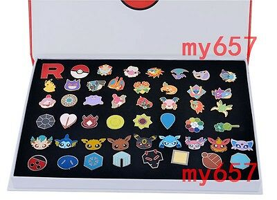 Pokemon Badges Metal Pins Eeveelution Pikachu Cosplay Collection In BOX