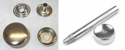 10 Poppers ! stainless ! 20mm silver Annular spring 10mm with tool