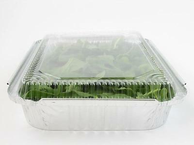 12x BBQ Food Packaging Foil Catering Tray Plastic Lids (36x29x7.8cm) Disposable