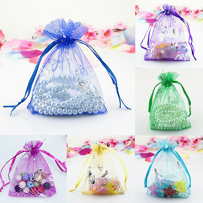 10/30/50/100/200X Candy Drawstring Organza Jewelry Wedding Gift Pouch Bags 7X9cm