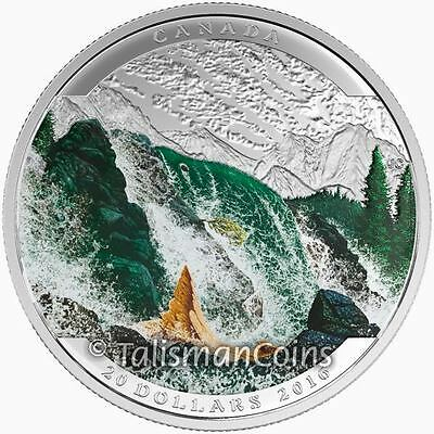 Canada 2016 Landscape Illusions Wildlife #3 Salmon $20 Pure Silver Color Proof