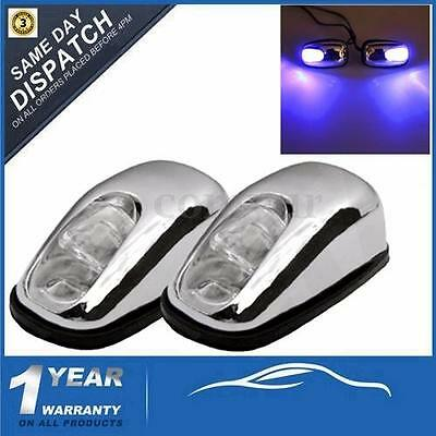 Pair Chrome Blue Led Neon Light Front Windscreen Washer Jets Nozzle Spray Water