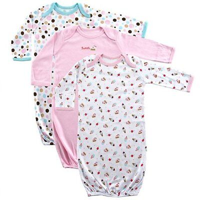 Luvable Friends 3 Pack Rib Knit Cotton Baby Girls Infant Gowns 0-6 Months Pink